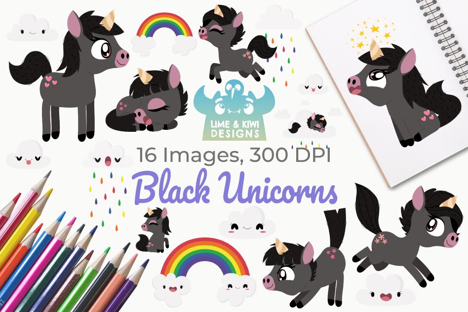 Black Unicorns Clipart, Instant Download Vector Art example image 1