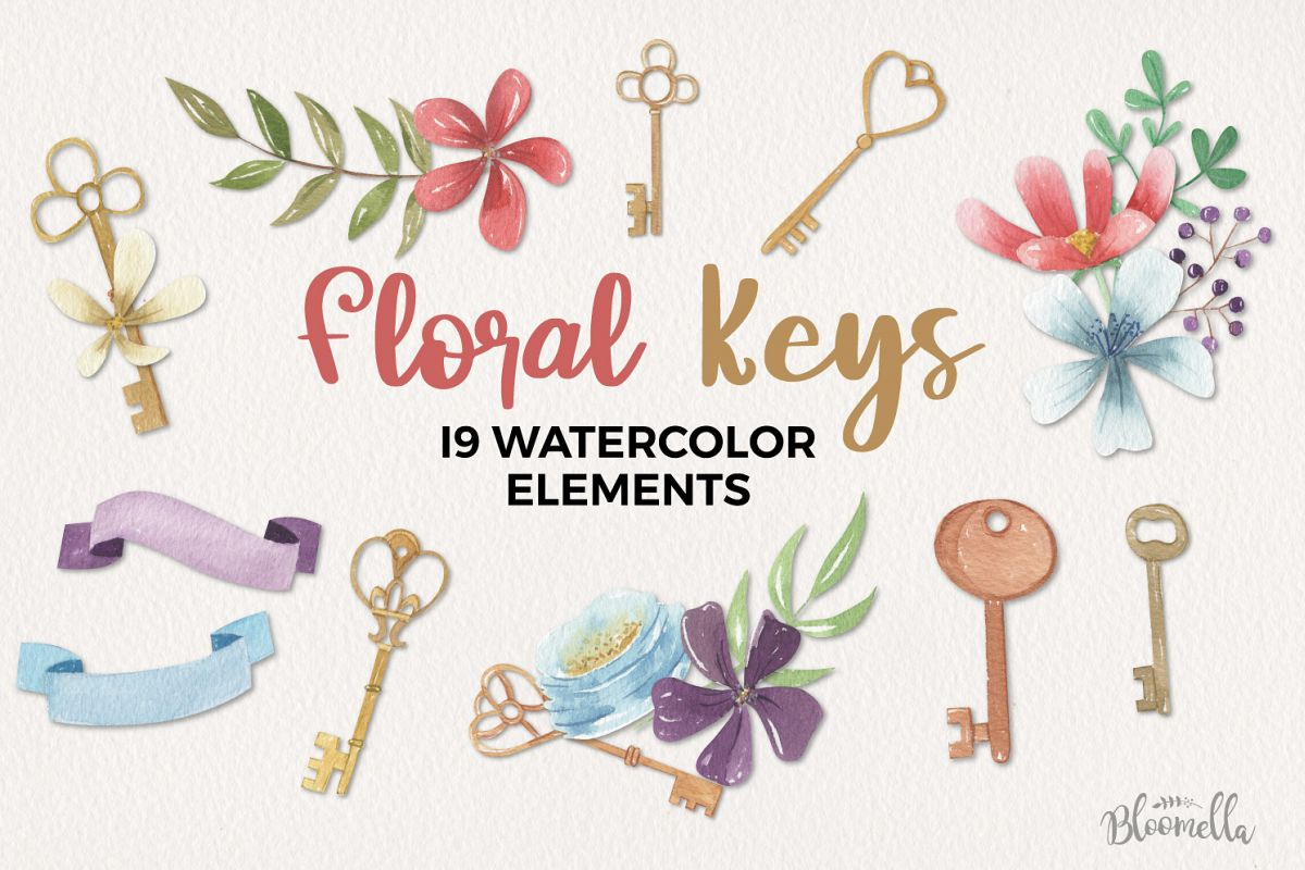 Floral Keys Flowers Watercolor 19 Elements Florals Berries example image 1