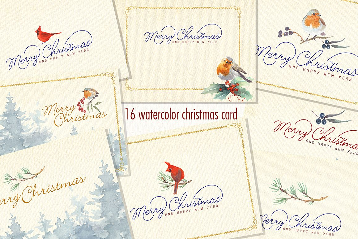 WATERCOLOR CHRISTMAS CARD CLIPART