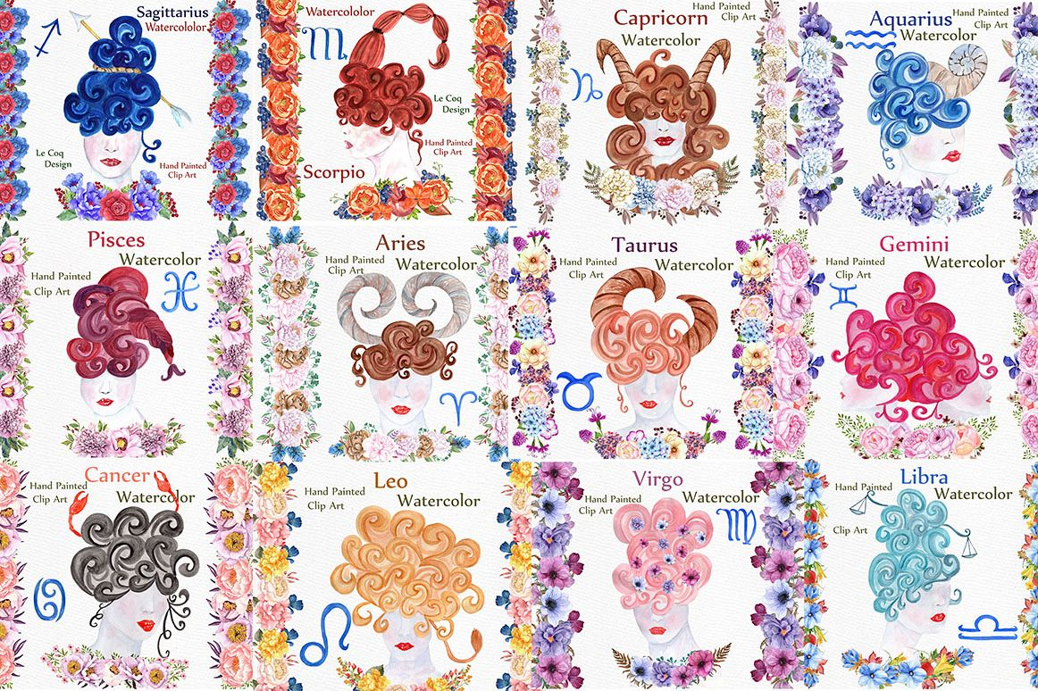 Watercolor zodiac signs clipart example image 1