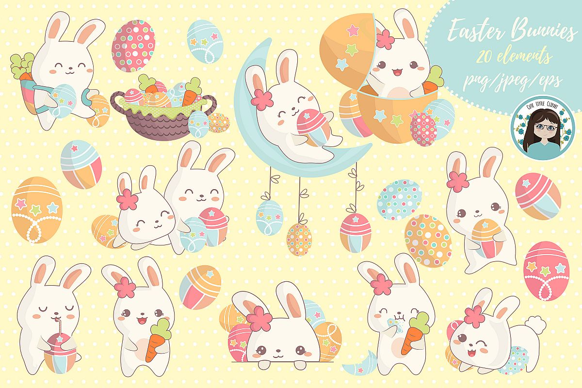 Cute kawaii bunnies example image 1