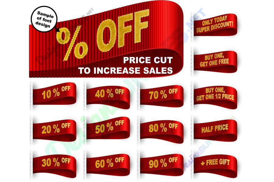 Vector Marketing Tag Clothes Label Sticker Sewn Price Cut Set Red example image 1