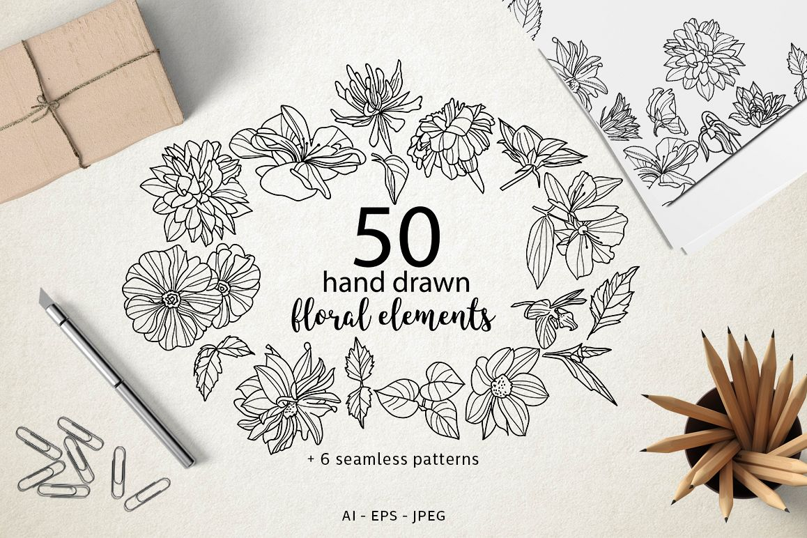 50 hand drawn floral elements example image 1