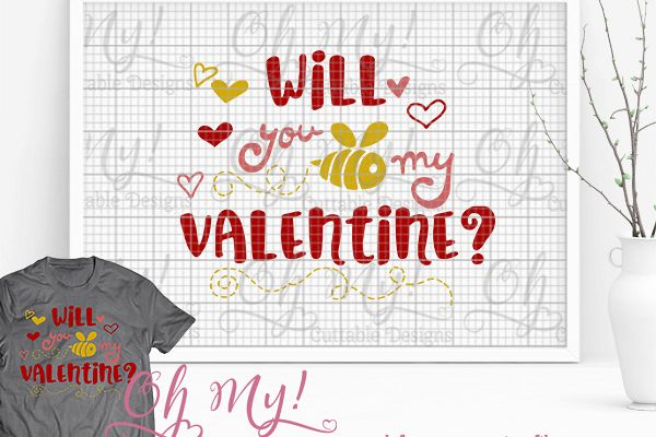 Will You Bee My Valentine Svg Eps Dxf Cutting File