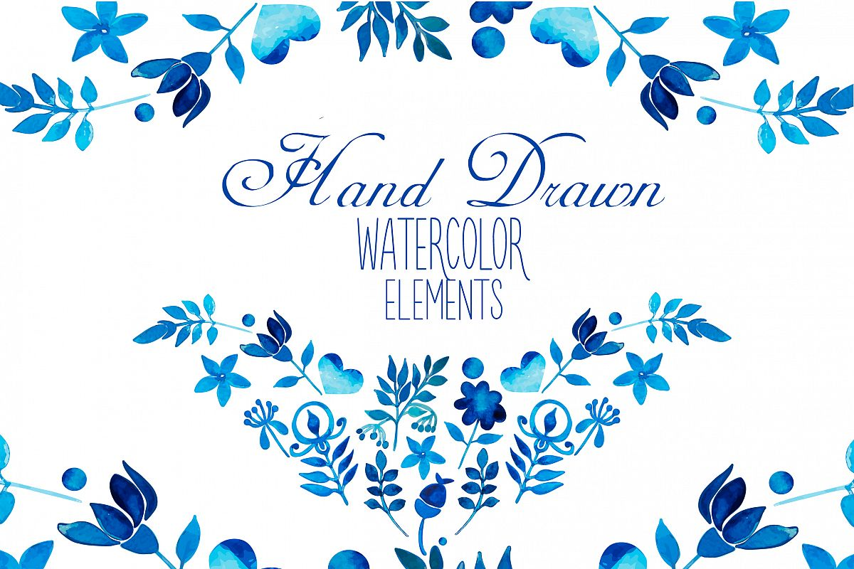 Hand Drawn watercolor elements example image 1