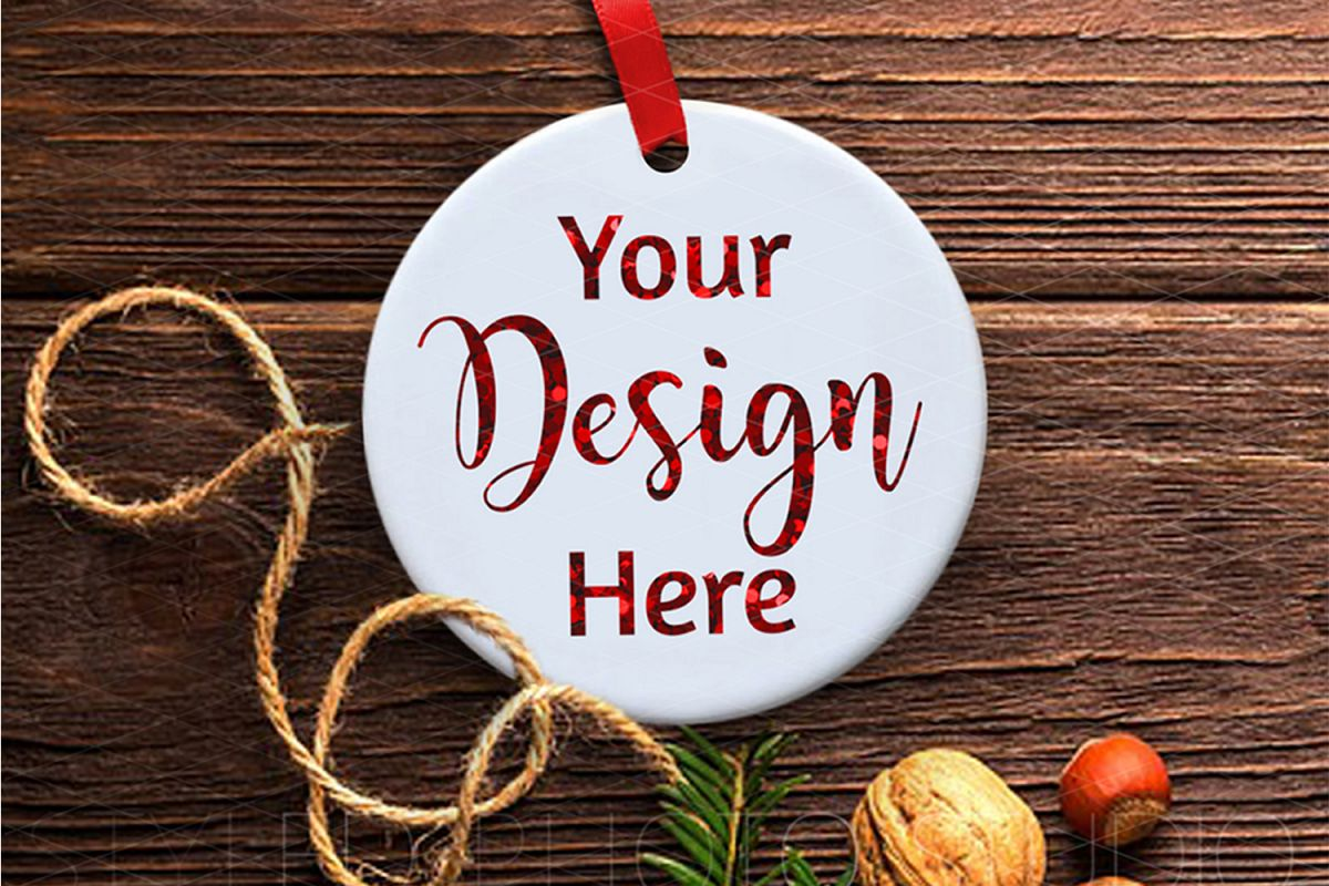 Ceramic Christmas Ornament Mockup Rustic Farmhouse example image 1