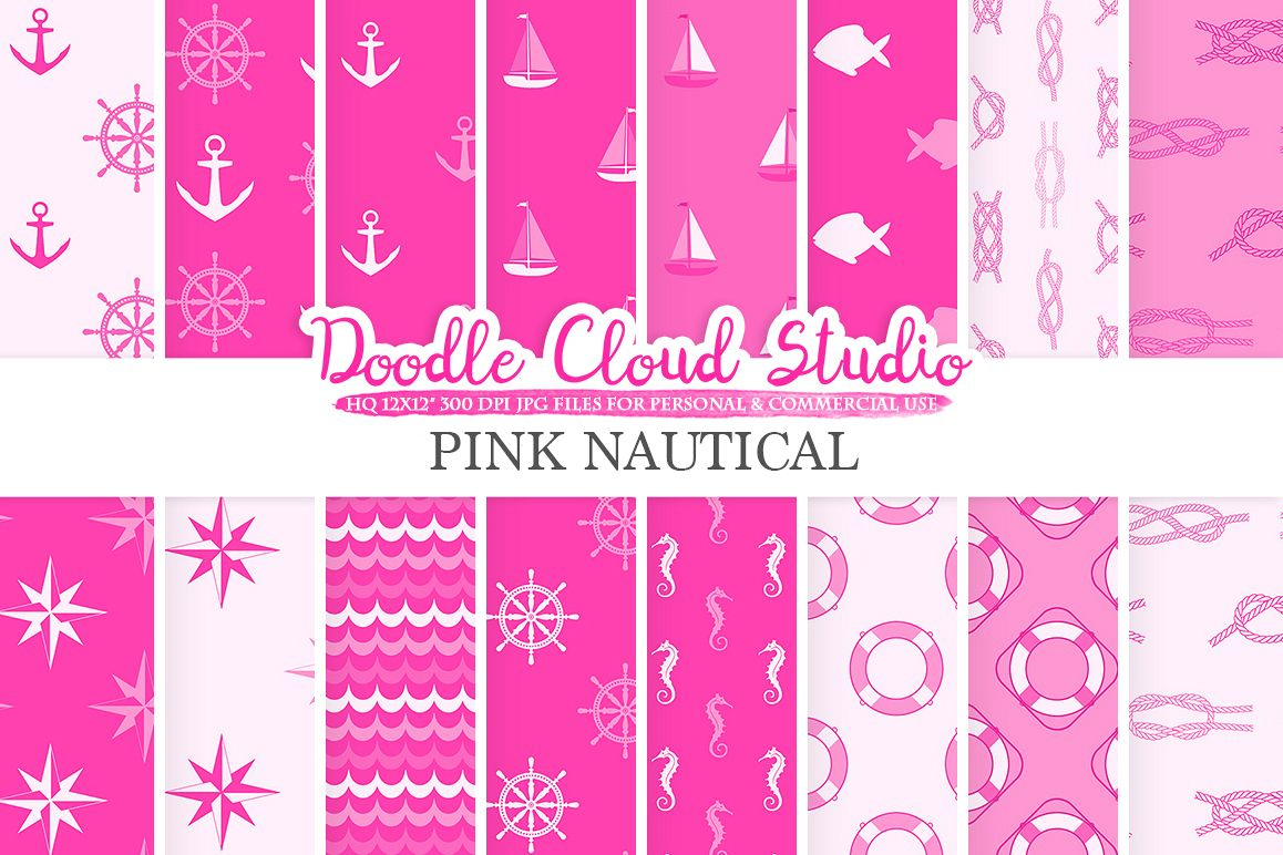 Pink Nautical digital paper, Seal patterns Ocean Steering wheel Sea waves Anchors backgrounds Instant Download for Personal & Commercial Use example image 1