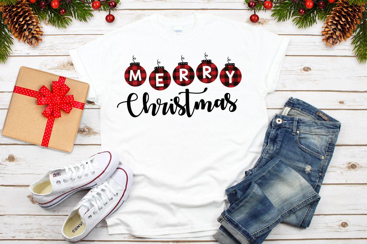 Merry Christmas Buffalo Plaid Svg example image 1