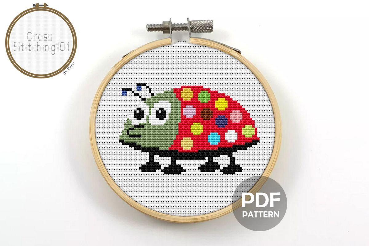 Baby Bug Cross Stitch Pattern - Instant Download PDF example image 1