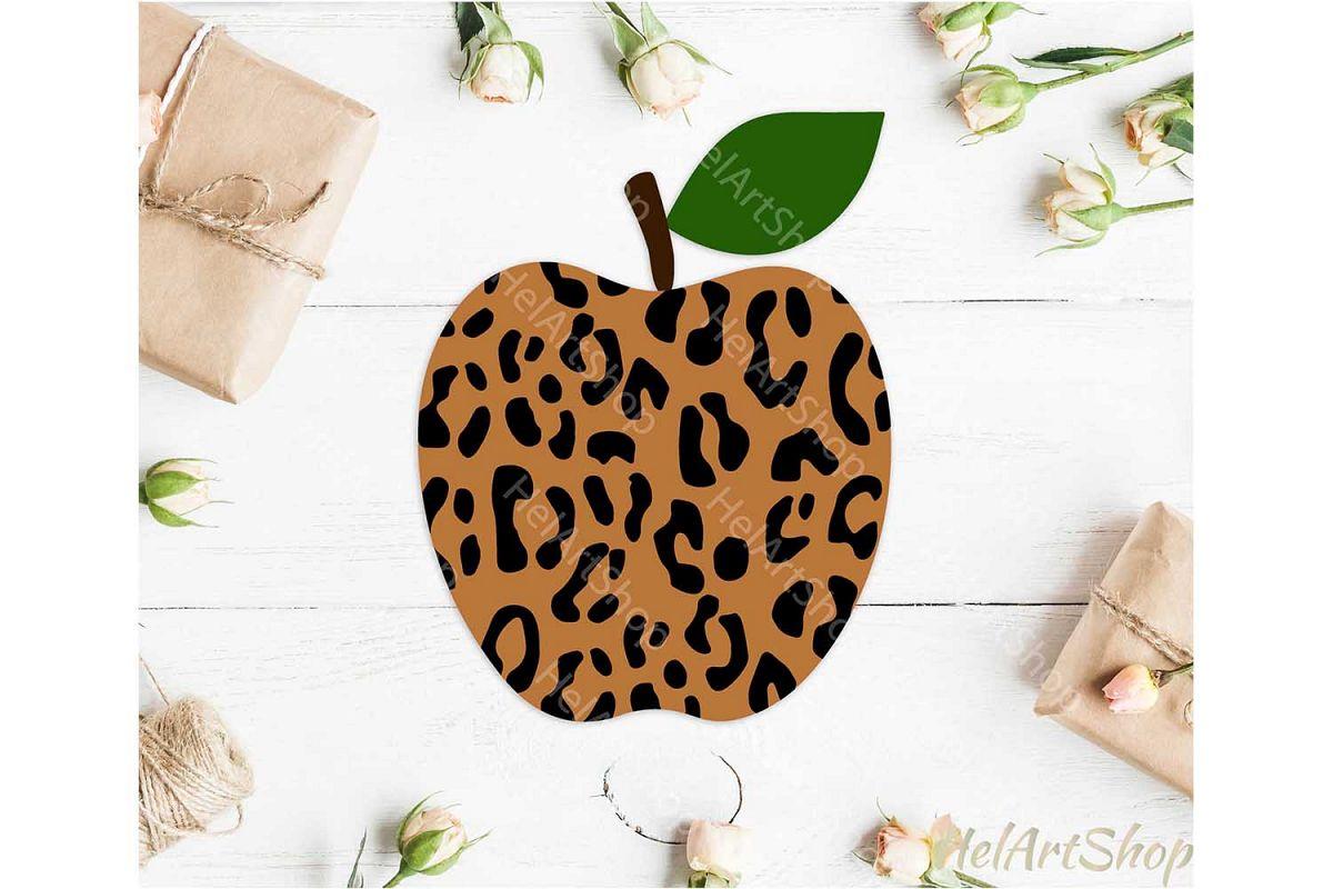 Leopard Print Apple svg, Teacher svg, Back To school svg example image 1