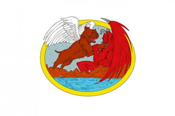 American Bully Dog Fighting Satan Drawing example image 1
