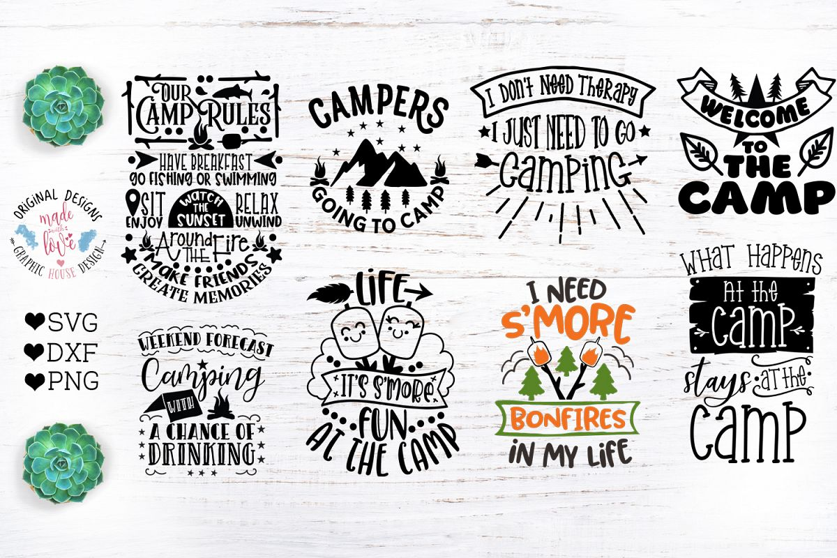 Camp Quotes Bundle - Camping Cut Files example image 1
