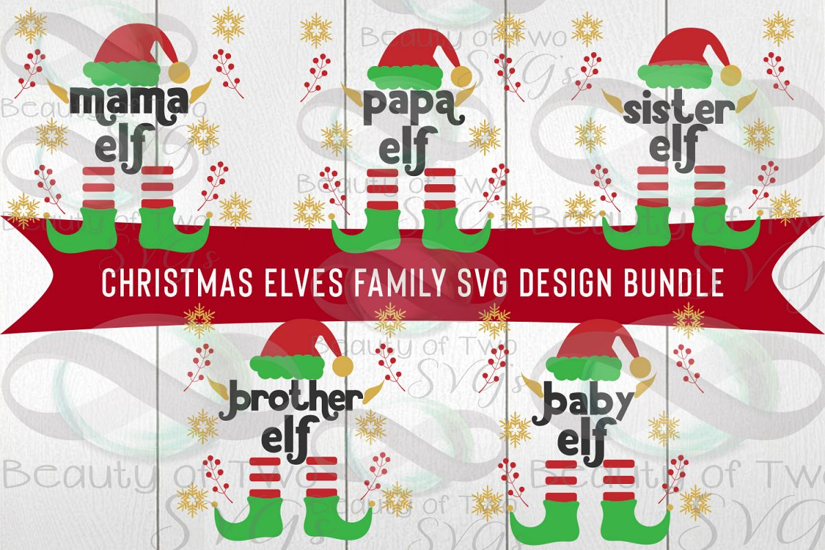 Christmas Elves Family Svg Bundle, 5 elf family svg designs example image 1
