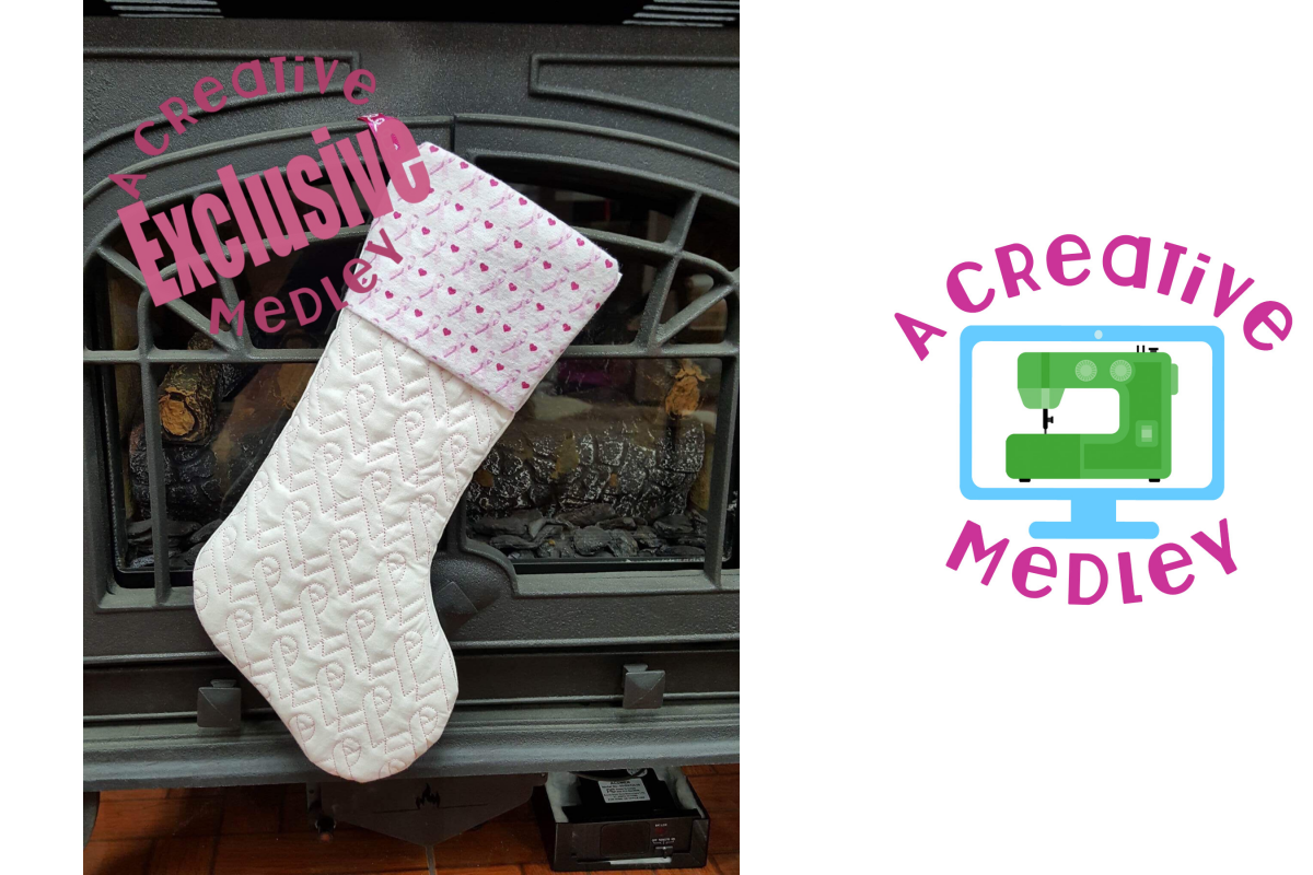 In the hoop Stocking with Cuff and Ribbon Motif example image 1