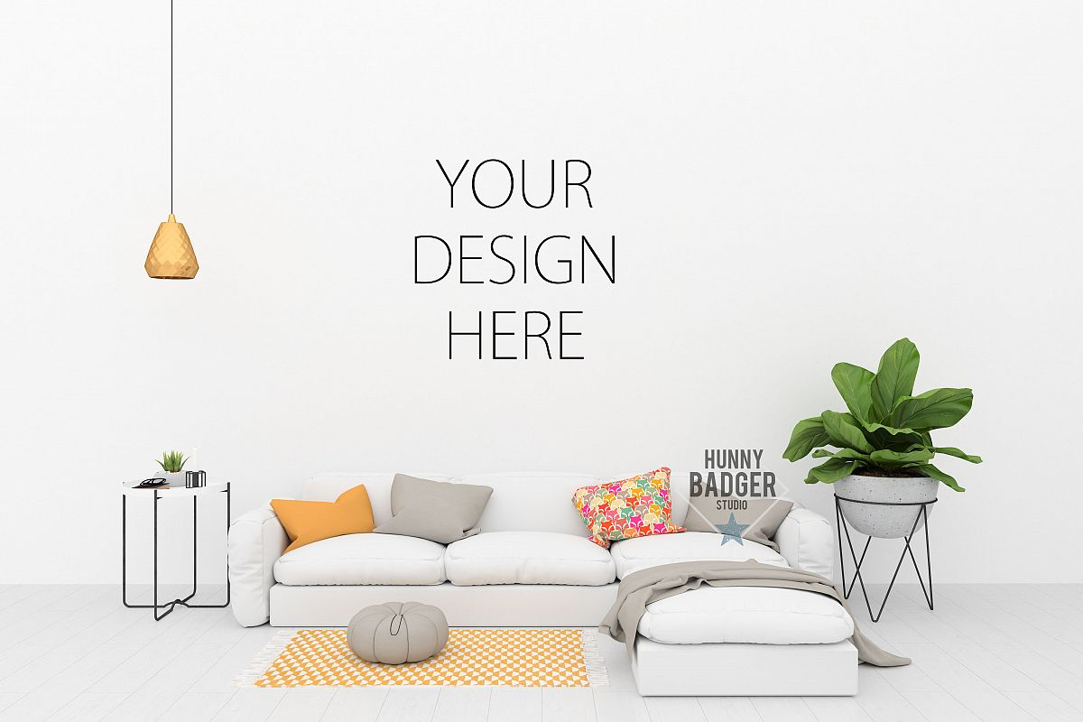 Blank wall mockup - wall art mock up example image 1