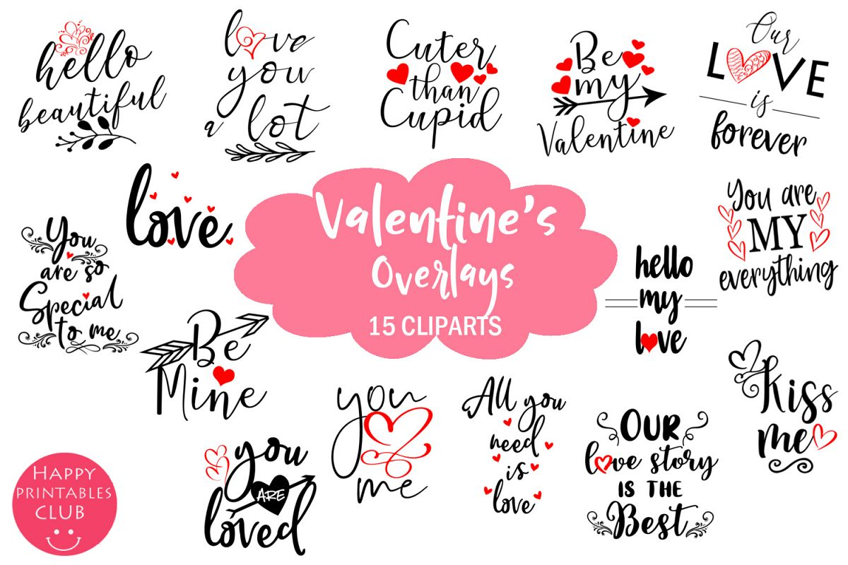Cute Valentines Overlays-Valentines Day Overlay Collection example image 1
