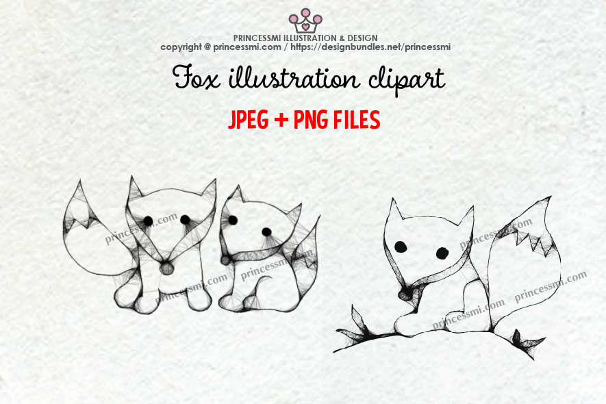 FOX illustration clipart set example image 1