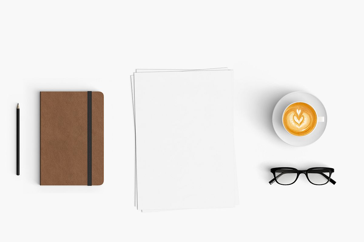 Modern workplace. Top view. Flat lay style. 12 example image 1