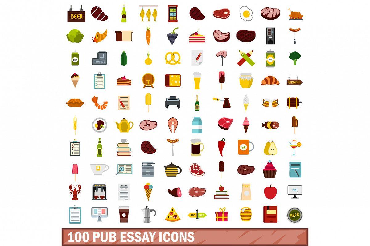 100 pub essay icons set, flat style example image 1