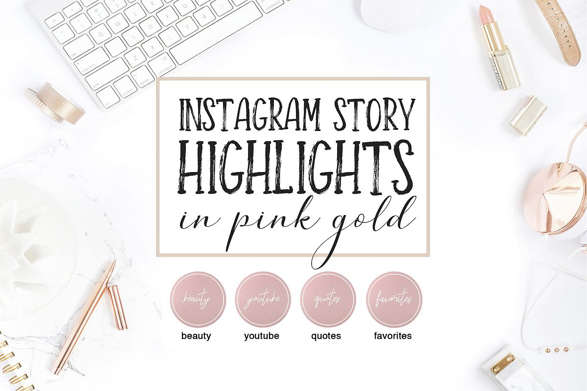 Instagram Highlight Covers in Pink Gold example image 1
