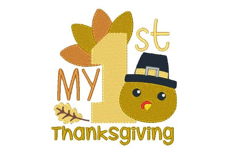 My First Thanksgiving Embroidery Design Baby Embroidery example image 1