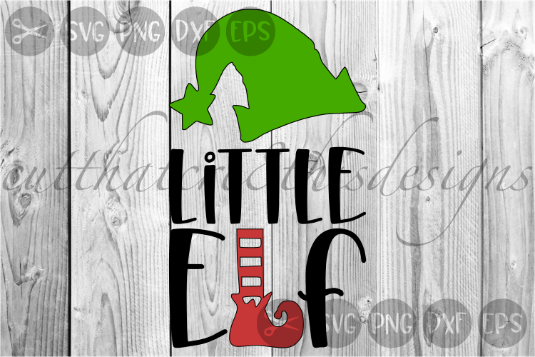 Little Elf, Hat, Feet, Cutie, Christmas, Cute, Cut File, SVG example image 1
