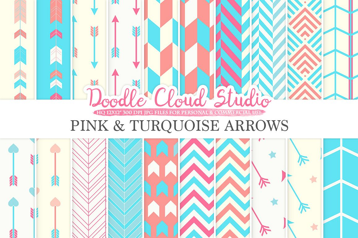 Pink and Turquoise Arrows digital paper, Arrow patterns, tribal, archery, chevron triangles pink blue backgrounds, Personal & Commercial Use example image 1