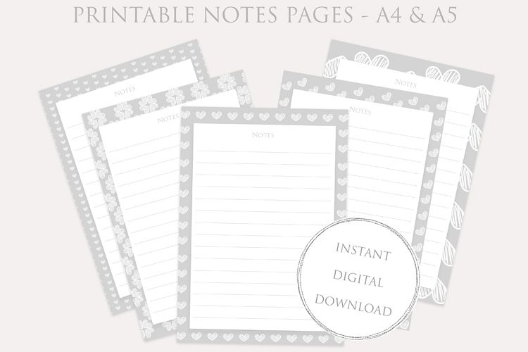 image relating to Printable Note Pages known as Printable NOTES internet pages fastened - Planner Inserts - prompt