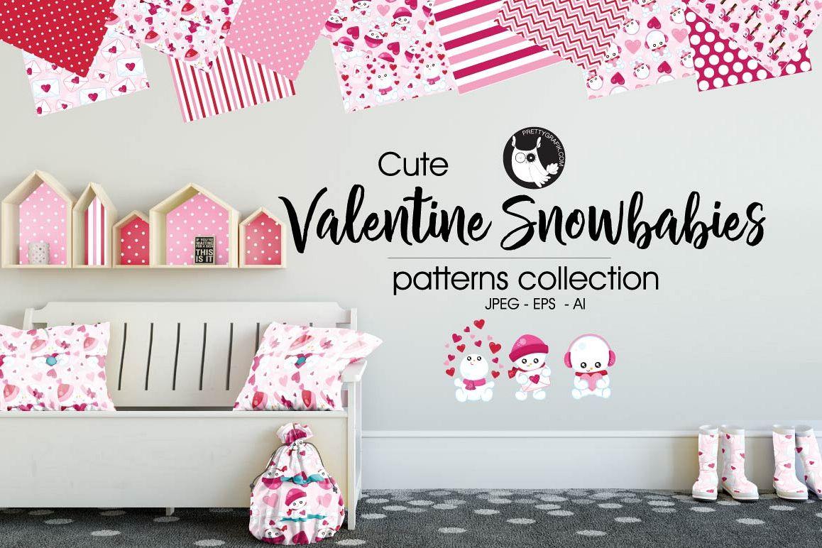 VALENTINE SNOW BABIES, digital papers example image 1
