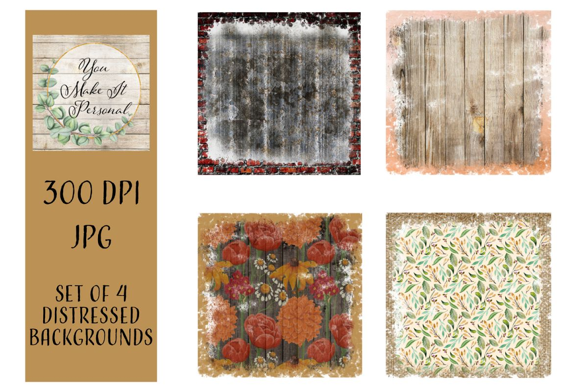 Set of 4, Distressed, Grunge Backgrounds. Great for Fall! example image 1