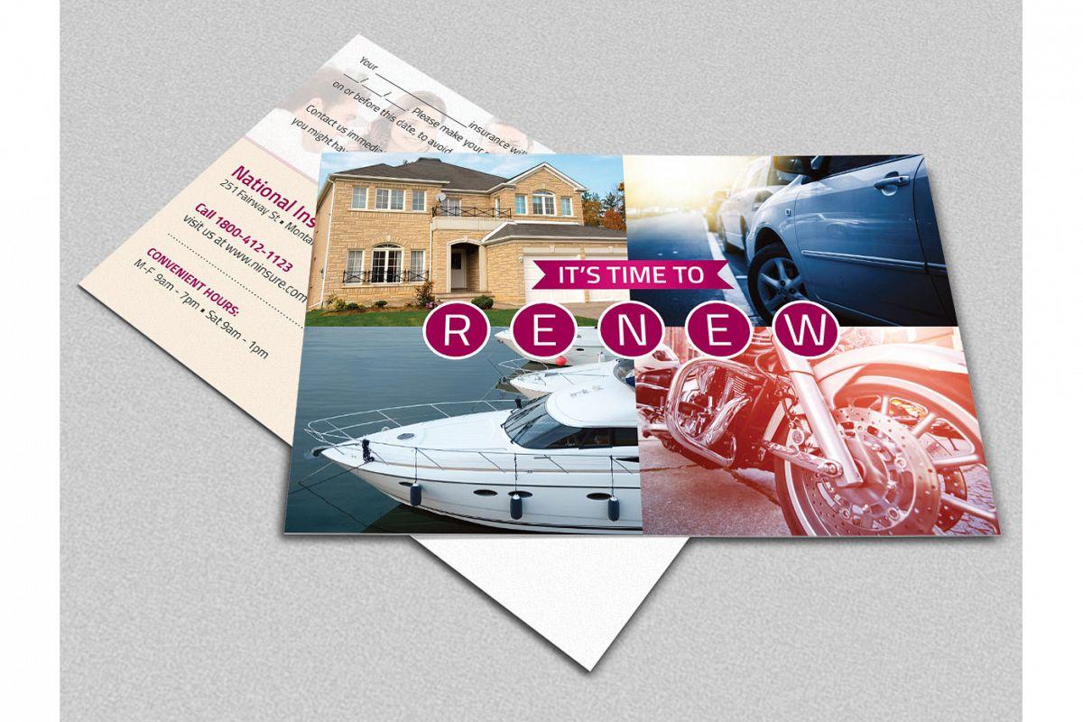 Insurance Renewal Postcard Template example image 1