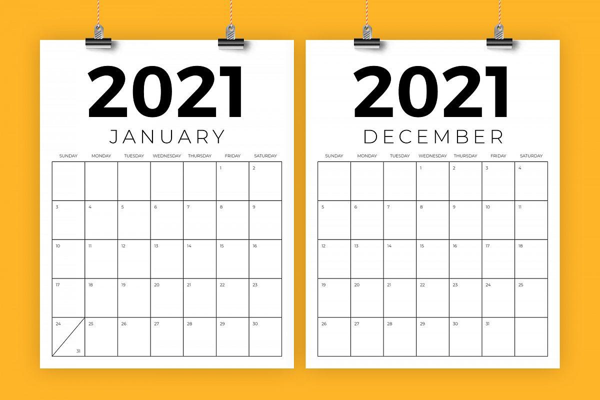 Vertical 8.5 x 11 Inch 2021 Calendar example image 1
