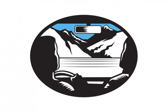 Driver Looking Up Mountain Car Windshield Oval Woodcut example image 1