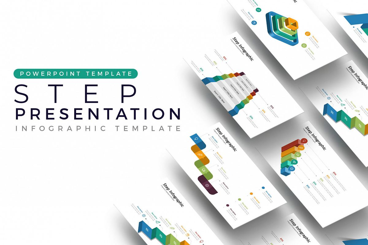step presentation infographic template
