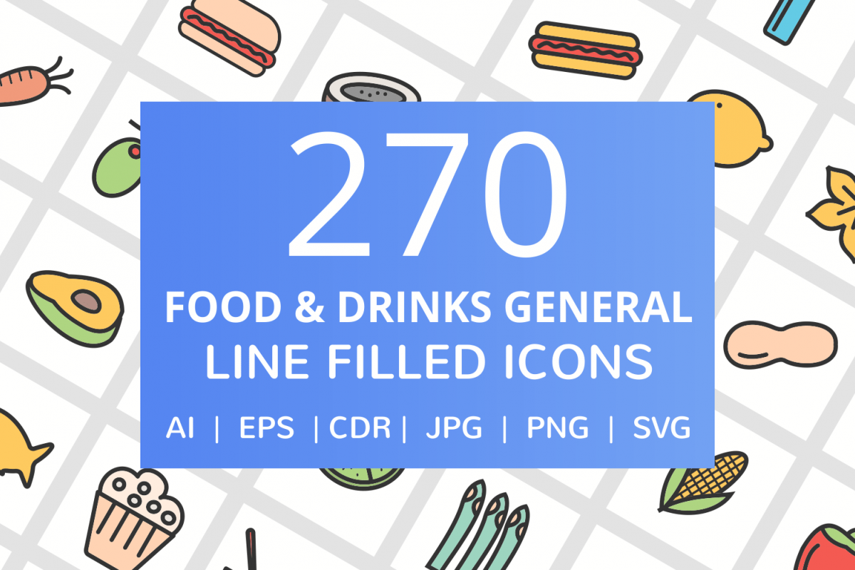 270 Food & Drinks General Filled Line Icons example image 1