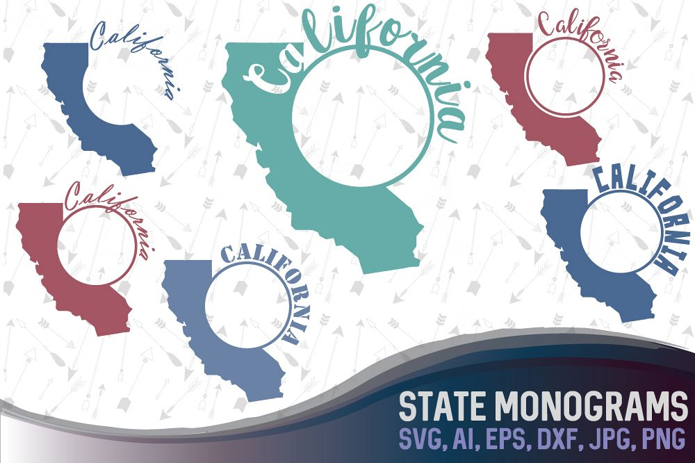 California state svg monograms California clipart - cutting files, SVG, PNG, JPG, EPS, AI, DXF example image 1