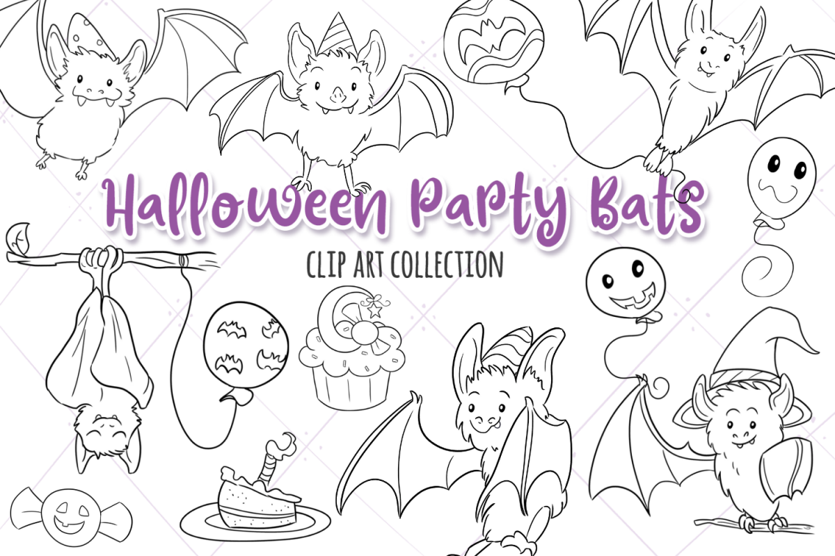 Halloween Party Bats Digital Stamps example image 1