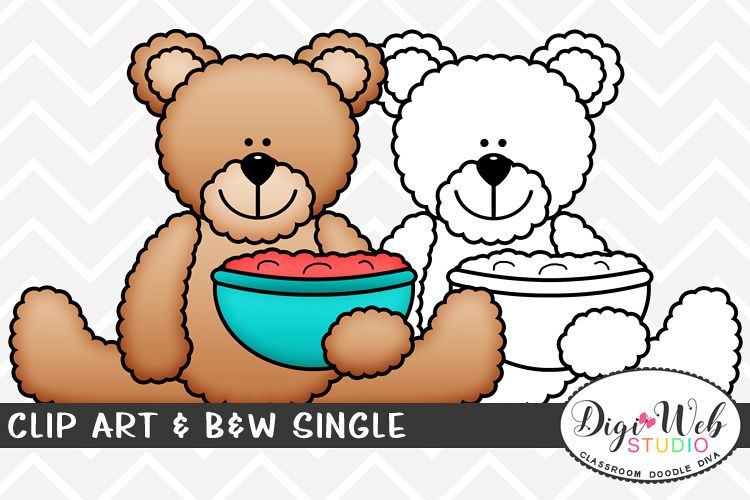 Clip Art & B&W Single - Thanksgiving Bear w/ Cranberry Sauce example image 1