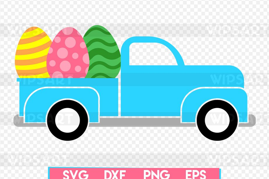 SALE! Easter old truck svg, easter eggs svg example image 1