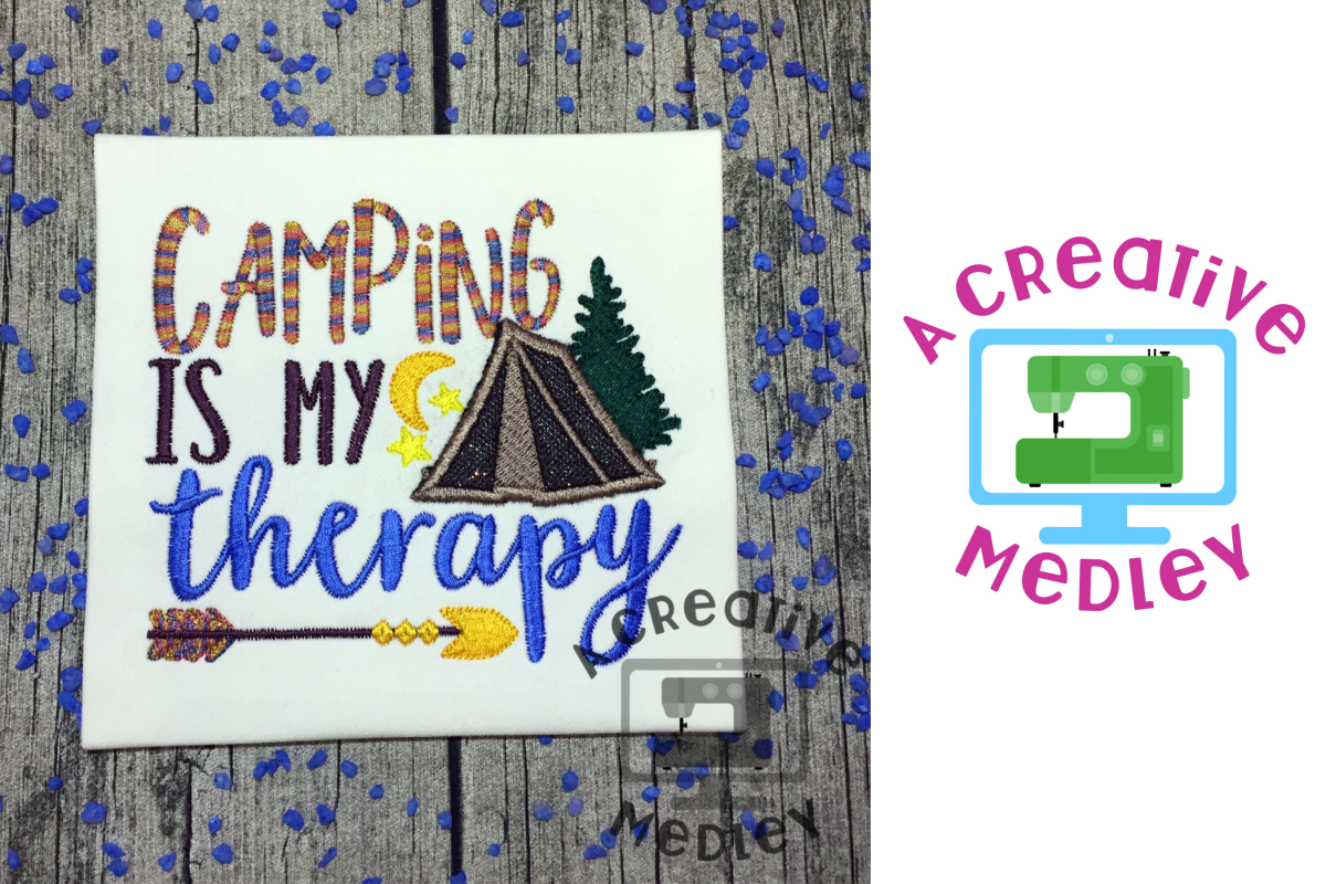 Camping is my Therapy Embroidery Design example image 1