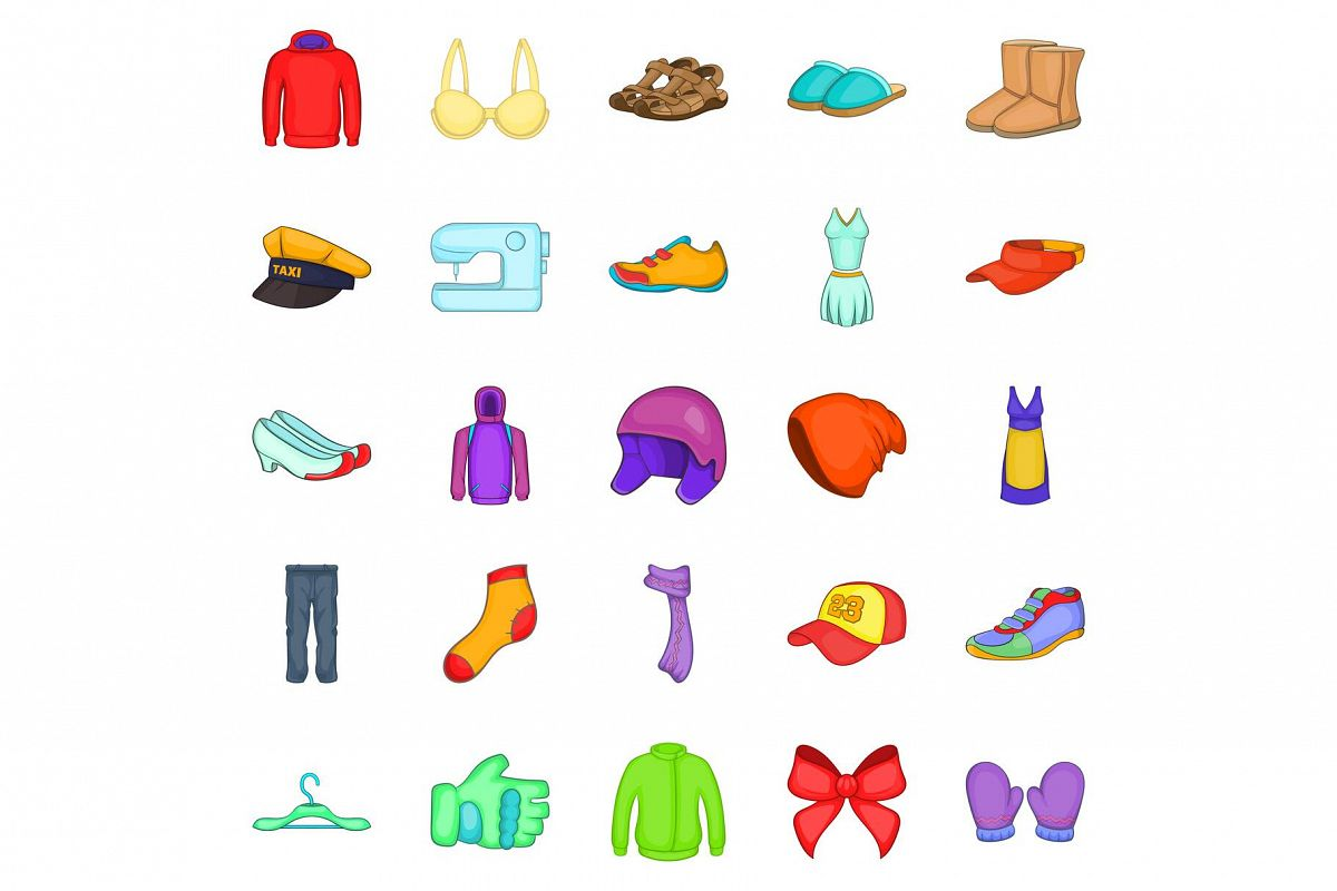 Clothing repair icons set, cartoon style example image 1