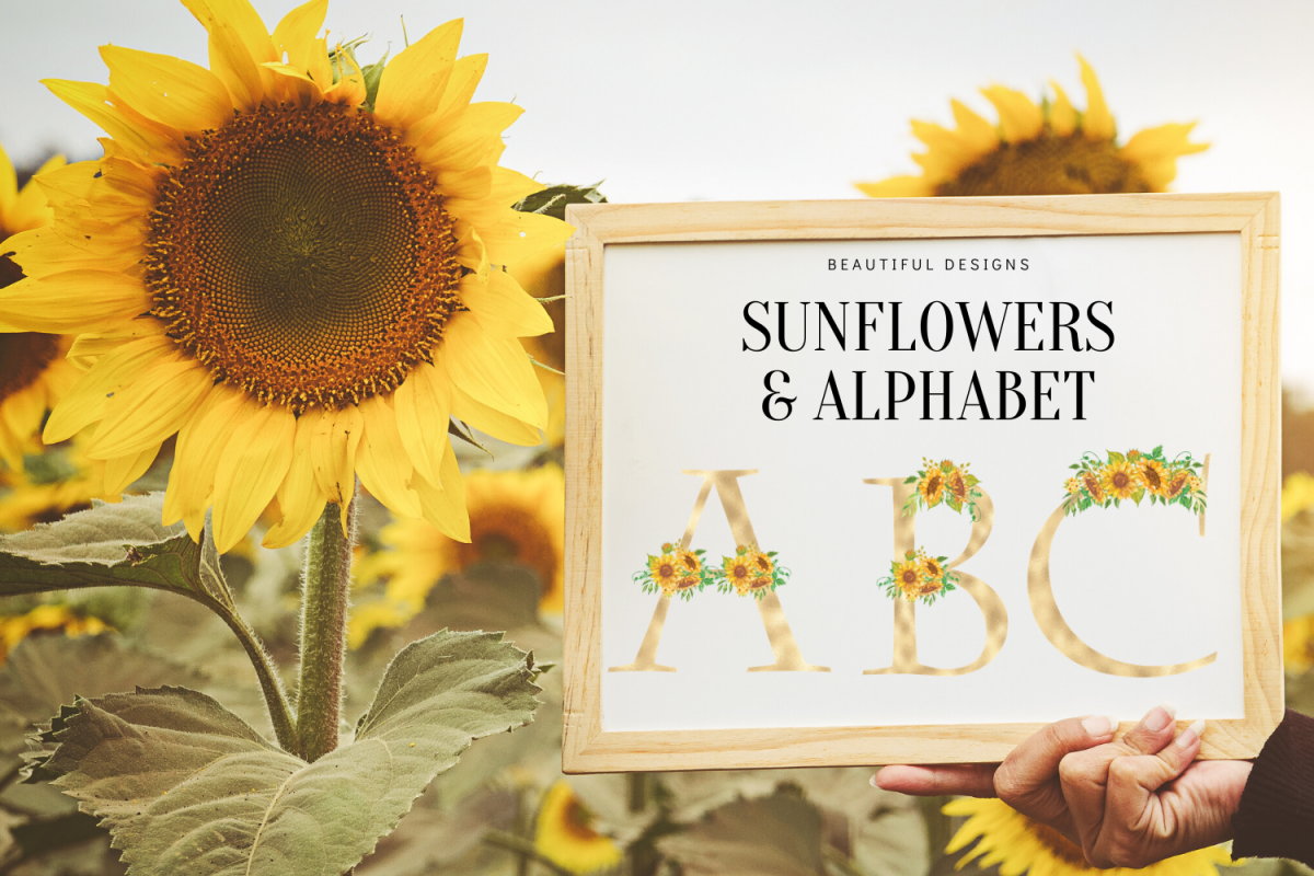 Sunflowers Floral printable alphabet, Gold foil alphabet example image 1