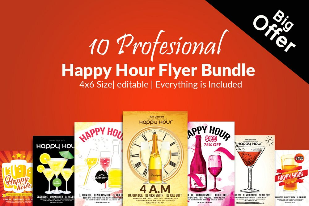 10 Happy Hour Flyer Template Bundle Example Image 1