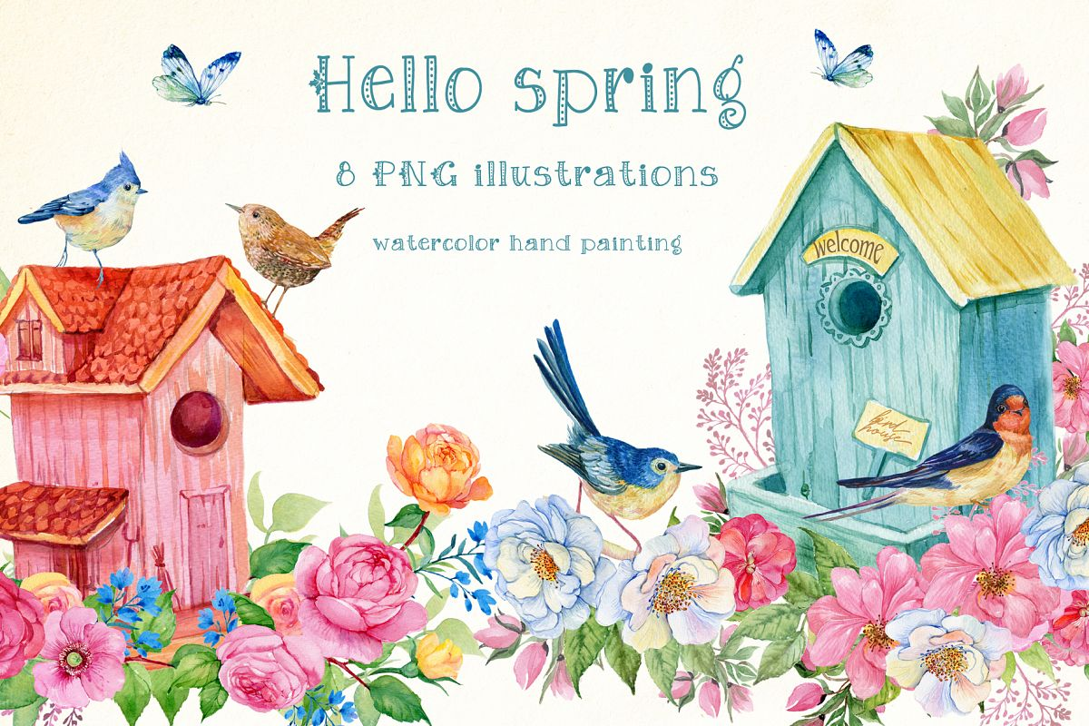 Hello spring watercolor illustration example image 1