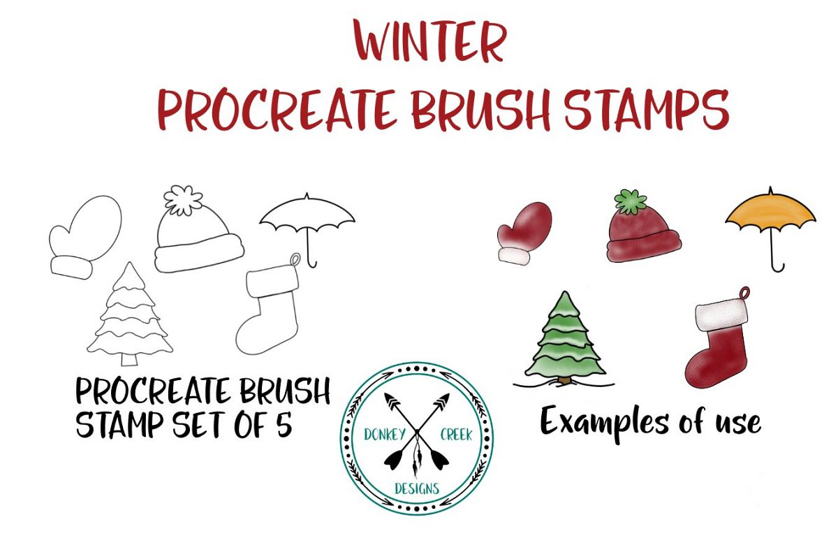 Procreate Brush Stamps Winter Set example image 1