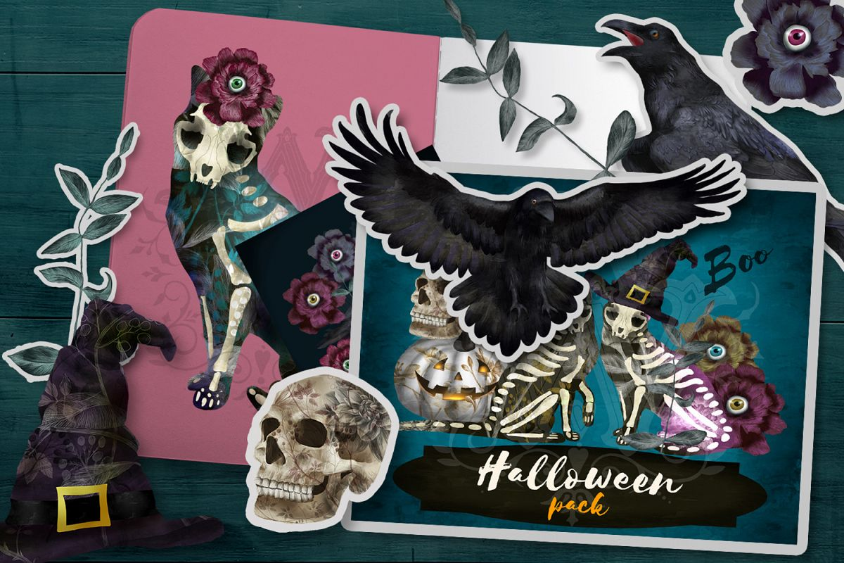 Halloween spooky clipart with skeleton cats, witch skull example image 1