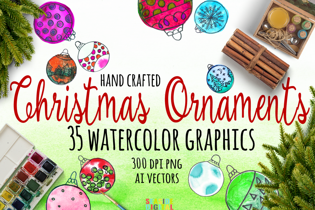 Watercolor Christmas Ornaments example image 1