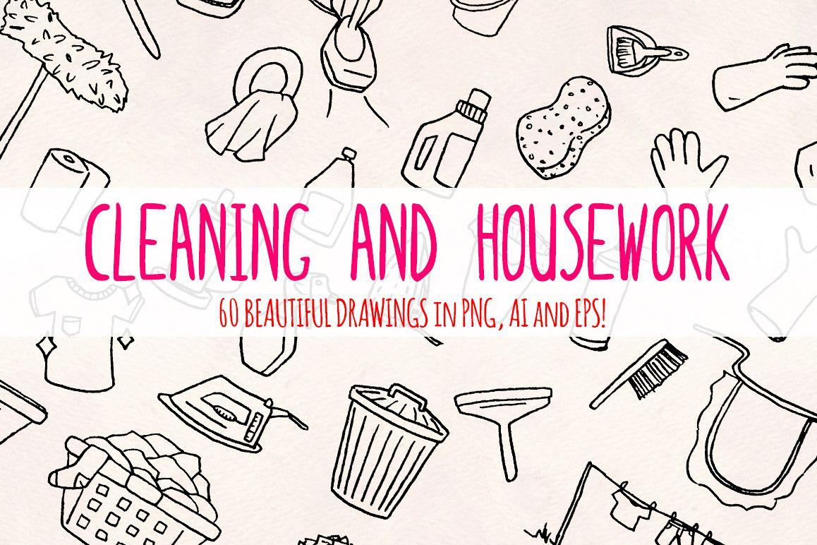 60 Cleaning and Housework Hand Drawn Vector Graphics example image 1