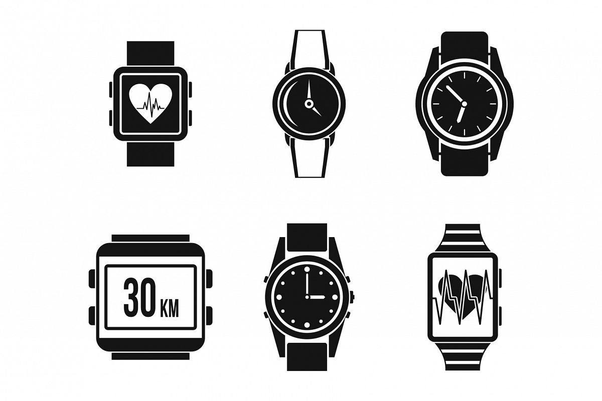 Smartwatch icon set, simple style example image 1