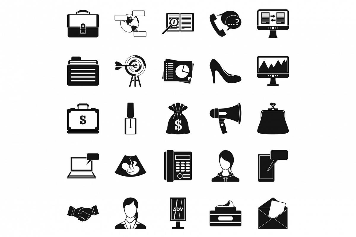 Studio icons set, simple style example image 1